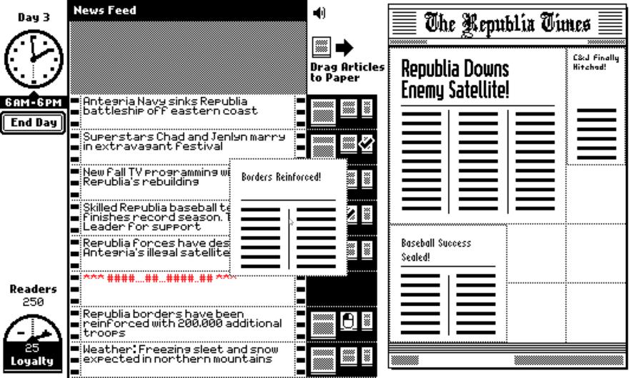 «The Republia Times» – Overskrifter og skriftstørrelse betyr noe
